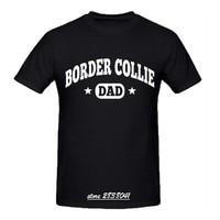 RTTMALL Good Quality Comfortable T Shirts Cotton Border Collie Dad White Black Man T shirt Animal Letter Printed Brothers Shirts