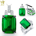 ANGG 5.9 ct Fashion 925 Sterling Sliver Ring Earrings Necklace Jewelry Set Square Created Emerald Engagement & Wedding for Women