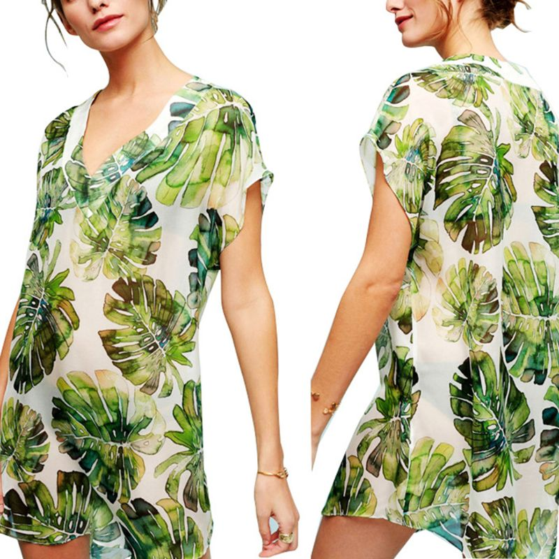 2019 New Summer Chiffon Asymmetric Swimsuit Cover Up Deep V-neck Boho Tropical Leaves Printed Mini Dress Short Sleeves Loose Quality First
