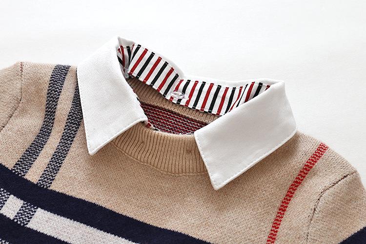 HTB1Ql5rX6LuK1Rjy0Fhq6xpdFXaF - 2018 Autumn Boys Sweater Plaid Children Knitwear Boys Cotton Pullover Dual Collar Sweater Kids Fashion Outerwear Toddler
