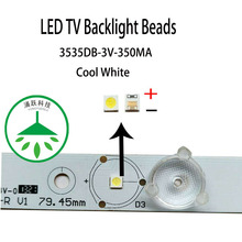 YONGYUEKEJI 100pcs/lot new smd led 3535 3v 350ma 1w lamp beads cool white for repair led lcd tv backlight bar and strip hot