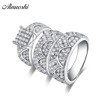AINUOSHI 925 Sterling Silver Couple Wedding Engagement 4 Prongs Rings Set Geometry Men Anniversary Lovely Promise Ring Set Gifts