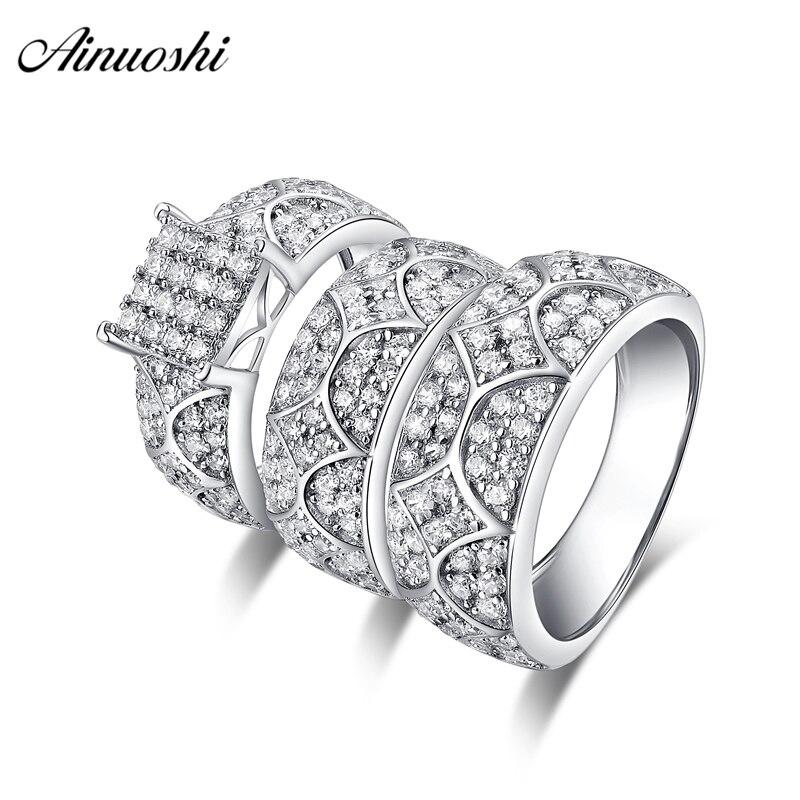 AINUOSHI 925 en argent Sterling Couple de fiançailles de mariage 4 broches anneaux ensemble géométrie hommes anniversaire belle promesse anneau ensemble cadeaux