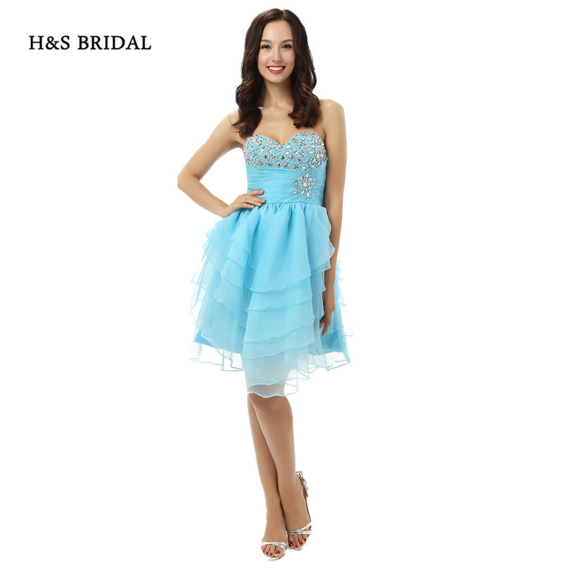 Good H&s Bridal 3 Colors Sweetheart Girls Party Cocktail Dresses Organza Ruffles Sequins Beaded Short Homecoming Dresses Durable In Use Weddings & Events
