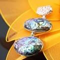 23x32mm 1pcs Natural abalone seashells sea shells pendant stripe women girls gifts Accessories Series jewelry making crafts DIY