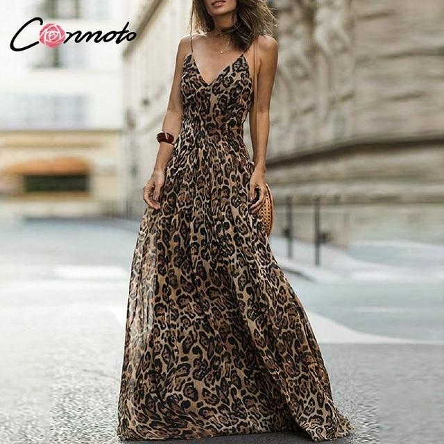 Vestido largo fiesta leopardo