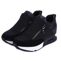 2018 ריצת מסלולי טיולים ספורט האישה נעלי טריזי פלטפורמה תחתונה עבה נעלי אביב סתיו אופנה גבירותיי סטודנטים שחורים