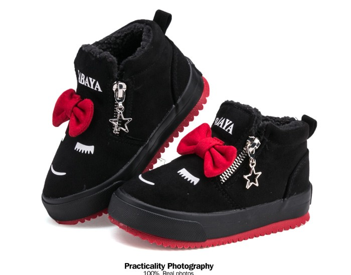 2017 Bowknot Kids Boots Girls Shoes Fashion Hot Warm Cotton Shoes Children Sneakers Winter Boots Cute Cartoon Smile Girls Boots 492 (12)