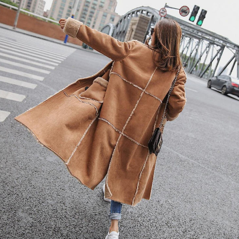 2019 Loose Long Lamb Wool Patchwork Overcoats Double Breasted Shearling Coats Winter Warm Women Faux   Suede     Leather   Coats
