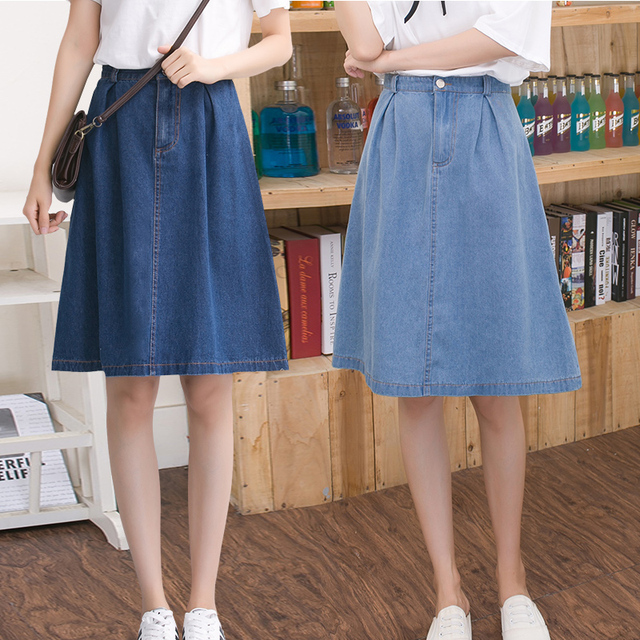 6face745b023e Women denim skirt jeans high waist woman skirts womens fashion denim knee  length a-line elastic waist all-match blue midi skirt