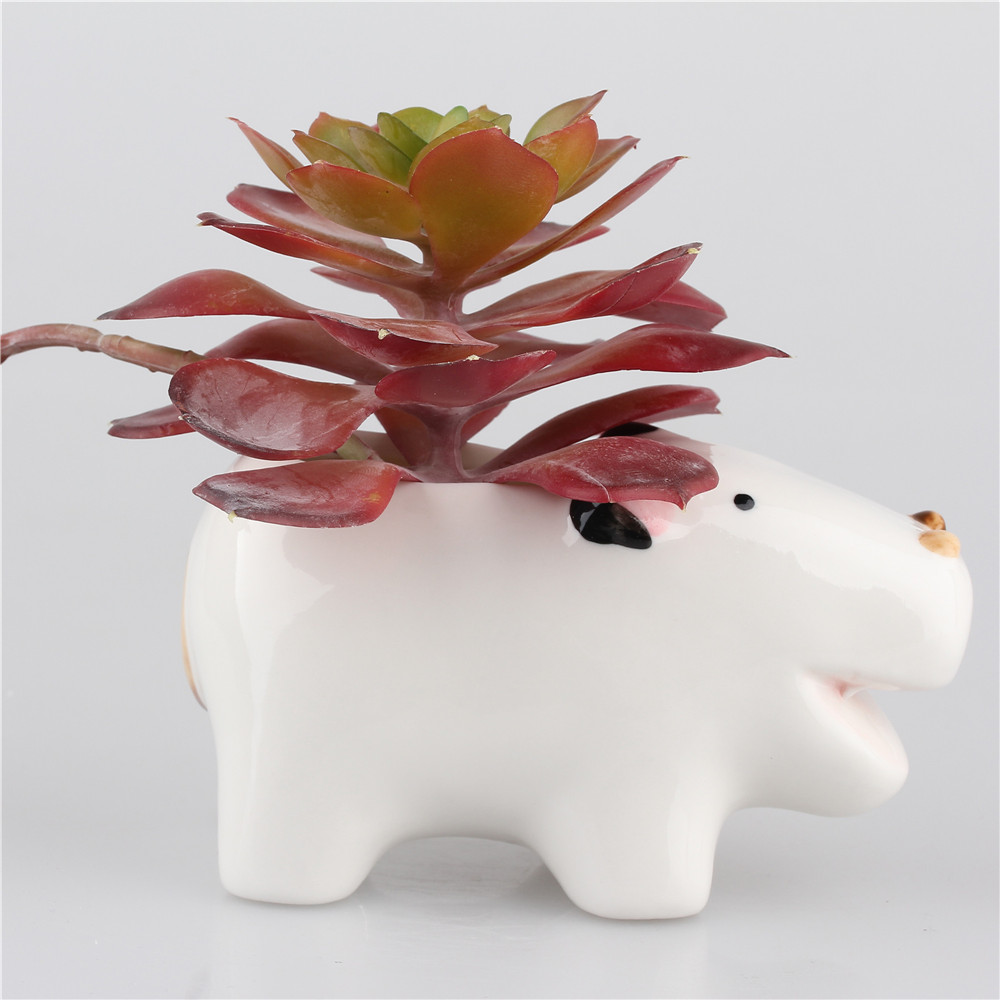 Mini Ceramic Flower Pots Laughing Cattle Cow Bull Pinted Pottery Planter  Garden Pots White Cans Flower Pot Stand For Succulents