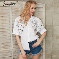 Simplee Borduren witte blouse shirt vrouwen tops Flare mouw vrouwelijke blouses zomer 2017 chemise femme blusas