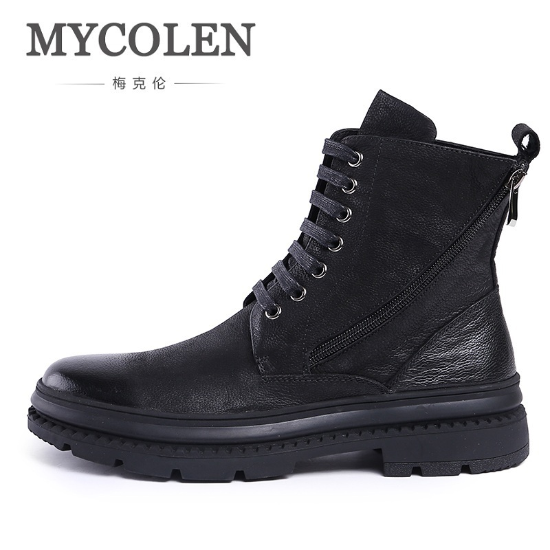 MYCOLEN High Quality Men Dr. Martins Boots Vintage Style Lace Up Men Shoes Casual Genuine Leather Autumn Ankle Boots men suede genuine leather boots men vintage ankle boot shoes lace up casual spring autumn mens shoes 2017 new fashion