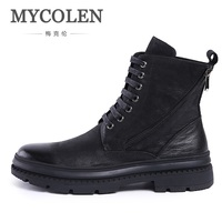 MYCOLEN High Quality Men Dr. Martins Boots Vintage Style Lace Up Men Shoes Casual Genuine Leather Autumn Ankle Boots
