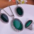 Redondas turca sistemas de la joyería para vestidos mujer de la princesa Vintage ganchos Red juego de anillos aretes collar Retro Colar Pendientes Anel