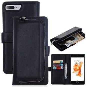 8ca2c2fe3 Lujo 2 en 1 multiusos del teléfono de la carpeta para iPhone7 magnética  desmontable Wallet Flip Funda de cuero para iPhone7 más