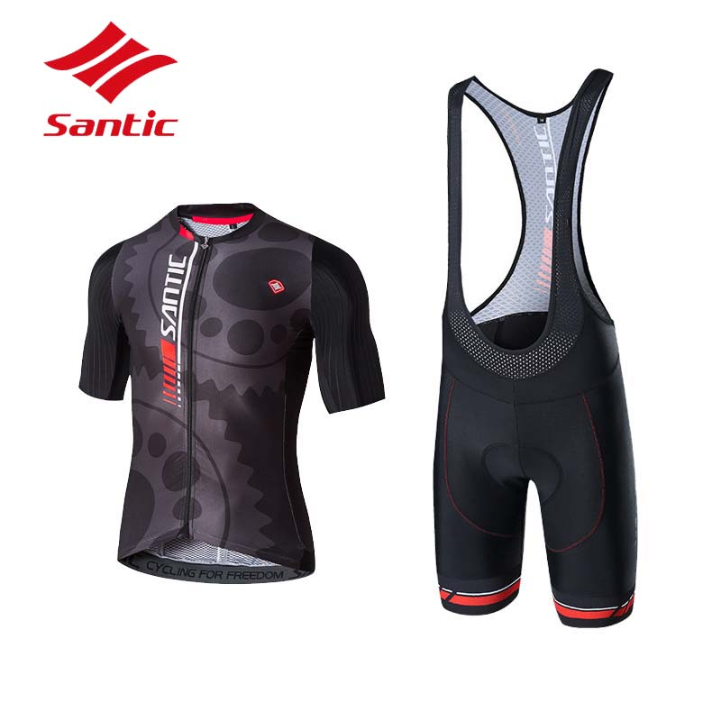 купить Santic Cycling Set Cycling Clothing Men Summer Pro Padded Breathable Triathlon Suit Bike Cycling Jersey Set Maillot Ciclismo недорого
