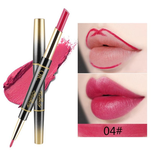 QIC Matte Lipstick Wateproof Double Ended Long Lasting Lipsticks Brand Lip Makeup Cosmetics Nude Dark Red Lips Liner Pencil 4