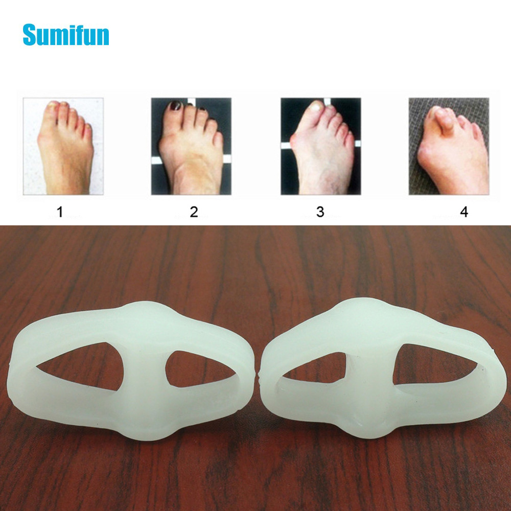 2Pcs Two Hole Thumb Valgus Toe Separator Silicone Gel Foot Fingers Protector Big Finger Pedicure Foot Care Tool(China)