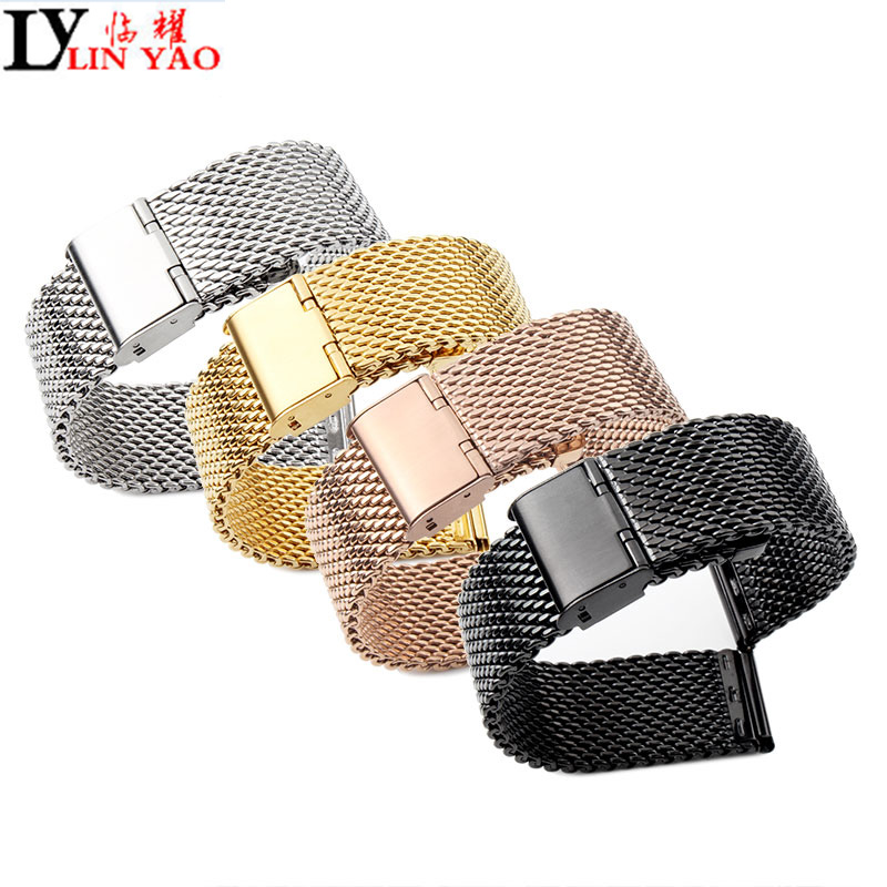 Watchband 16mm 18mm 20mm 22mm Metal Watch Band Strap Universal Stainless steel Bracelet Black Rose Gold Silver for CK watchband.