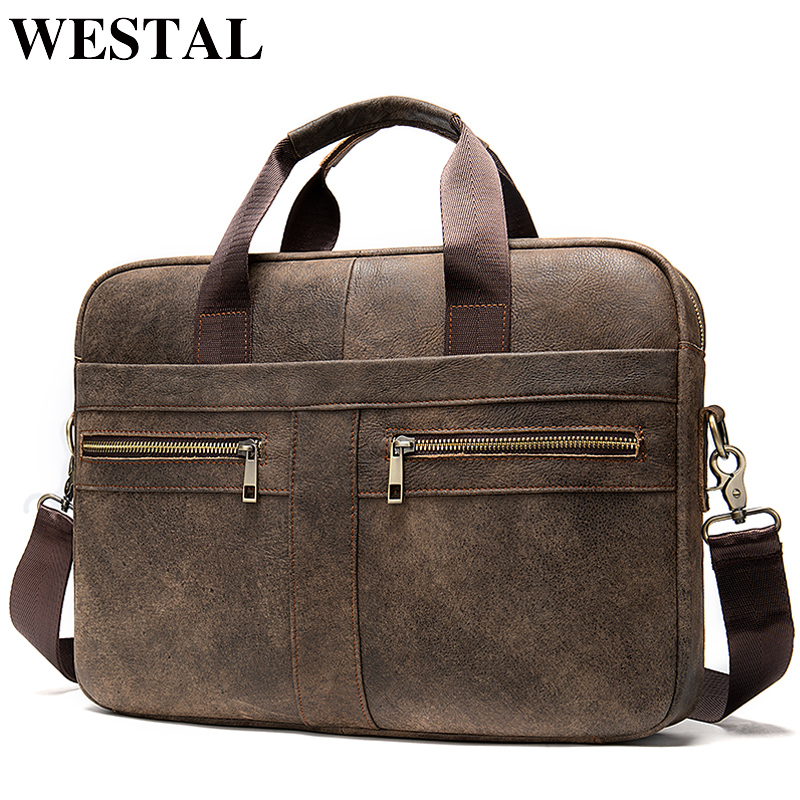 WESTAL bag men s leather laptop bag men s briefcase handbag men s genuine leatehr shoulder