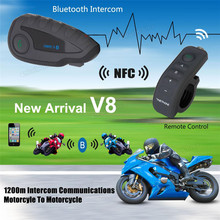 VNETPHONE V8 Motorcycle Helmet Remote ControI Handle Interphone Bluetooth Intercom Headset 5 Riders with NFC Function
