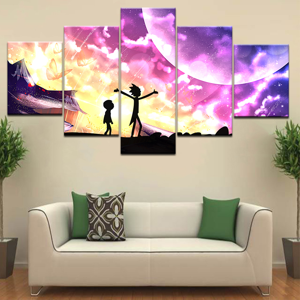 5Panel HD Printed blue and pink wallpaper anime wall posters Print On Canvas Art Painting For home living room decoration