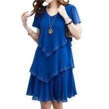 Летнее платье 2017 Синий Платья для вечеринок женское платье шифон халат пикантные Праздничное Платье 4XL 5XL Плюс Размеры женская одежда