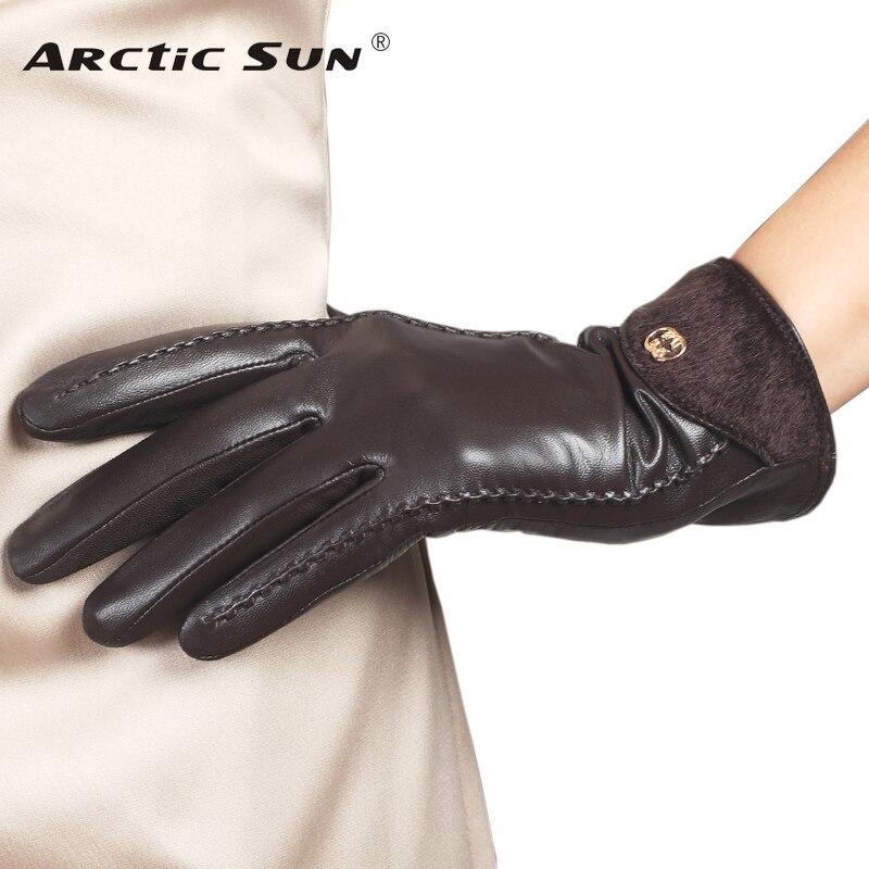 Top Fashion Goatskin Solid Genuine Leather Gloves Women Wrist Fur Adornment Winter Sheepskin Glove Fleece Lining Limited L148NQ