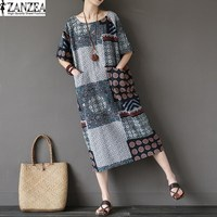 Tops Blusas 2017 ZANZEA Women Summer Short Sleeve Loose Casual Floral Print Mid Calf Pockets Splice
