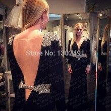 Neue Mode 2015 Mantel Scoop Perlen Strass Backless Lange Chiffon Schwarze Formale Abendgesellschaft Kleider Langarm Prom Kleider