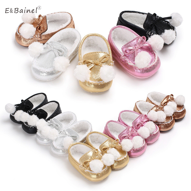 New Baby Winter Shoes Fur Ball Warm Infant Baby Girls First Walkers Comfort Soft Bottom Toddler Baby Moccasins Crib Shoes