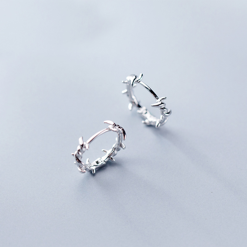 MloveAcc Pure 925 Sterling Silver Hoop Earring Barbed Wire S925 Earrings Gift For Women Girl Teen Jewelry