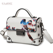 SAJOSE NEW Fashion Trunk Retro Painting Animal Picture Bags Women's Messenger Lady Shoulder Bag Women Leather Handbag Designer
