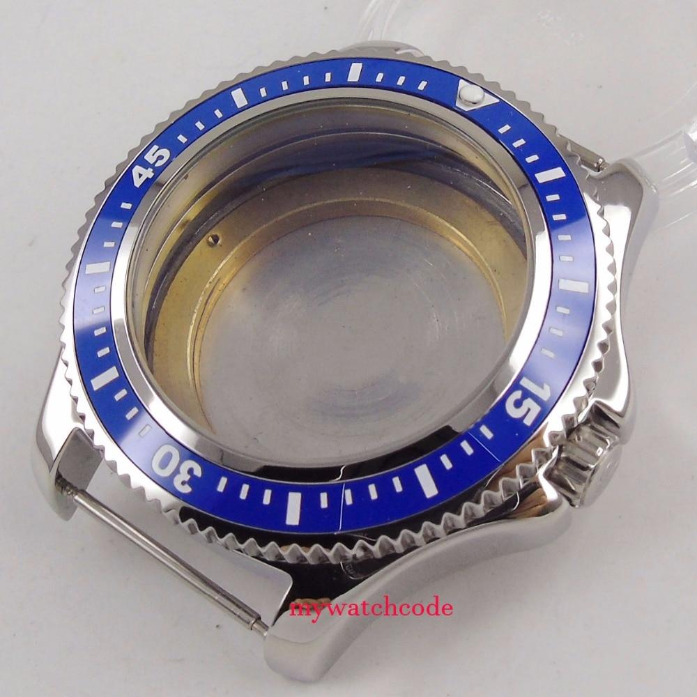 44mm black/blue ceramic bezel Watch Case fit eta 2824 2836 8215 8205 DG2813 MOVEMENT 42mm pvd coated case black aluminum alloy bezel watch case fit eta 2824 2836 dg2813 3804 miota 8215 8205 821a movement c18