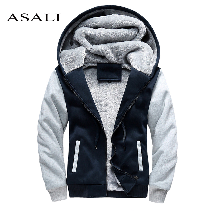 ASALI Brand Thick Hoodies Tracksuit Men 2018 Winter Zipper Outdoorwear Hoodie Men's Warm Hooded Cardigan Coat US/Eur Size 5XL