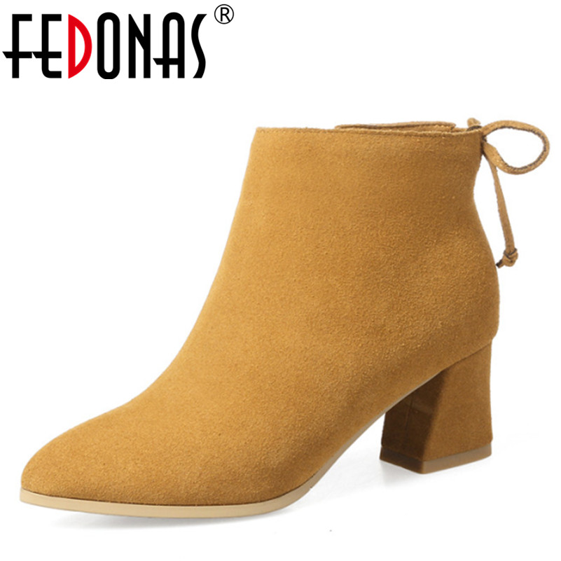 FEDONAS 2018 New Fashion Women Genuine Leather Snow Boots Women Cow Suede Sexy Ankle Boots Pointed Toe Winter Shoes Woman Boots taoffen genuine leather motorcycle boots biker shoes women suede pointed snow boots brand shoe famous designer woman flats punk