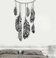 Apanhador de sonhos Adesivo de Parede Vinil Removível de Alta Qualidade Quarto Murais Decoração Pena Indiano Estilo Étnico LA802 Decalque Sala de estar