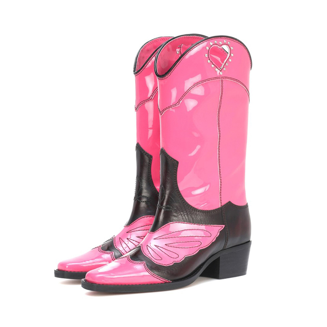 JAWAKYE design genuine leather knee high boots for women embroidery butterfly Motorcycle Boots pointed toe cool ankle boots 2