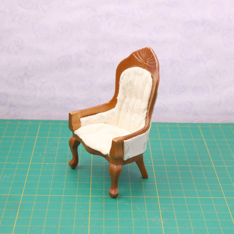 G07-X081 children baby gift Toy 1:12 Dollhouse mini Furniture Miniature rement Doll accessories wooden High back chair D192 1pcs ...