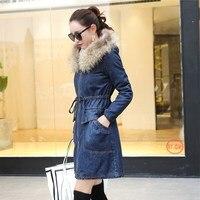 Winter Fur Denim Jacket Women Long Sleeve Washed Blue Jeans Jacket Casual Warm Fur Collar Button Bomber Jacket