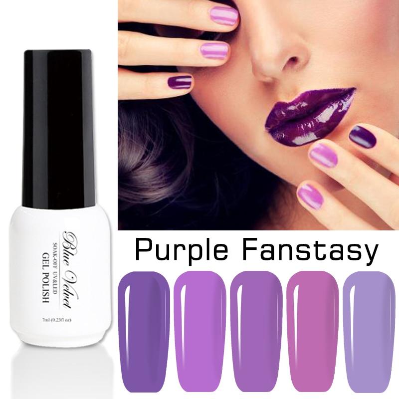 Blue Velvet 7ml Elegant Purple Eries Gel Nail Polish Soak