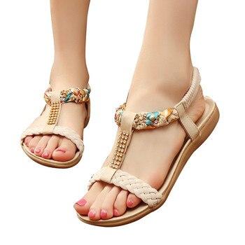 Women Shoes Bands Flat Shoes Gladiator Sandals Mujer Casual Beach Girls Summer Sandals Bohemian  Women Summer Shoes Flats