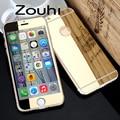 De alta calidad espejo de cristal temperamento oro protector para iphone 6 plus, 5.5 pulgadas de pantalla protector de la cubierta completa, delantero y trasero para 6 plus