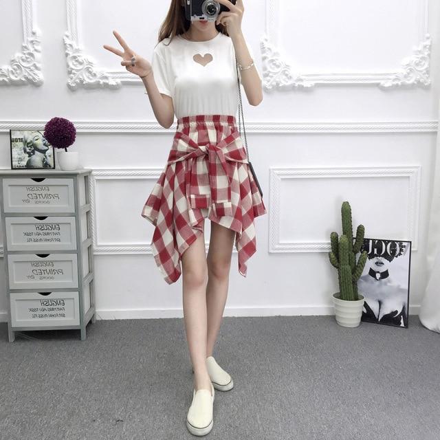 a03382f97 Tela escocesa de las mujeres faldas Vintage alta cintura bolsillo arco  cinturón sexy falda de encaje Boho verano señora falda asimétrica en Faldas  ...