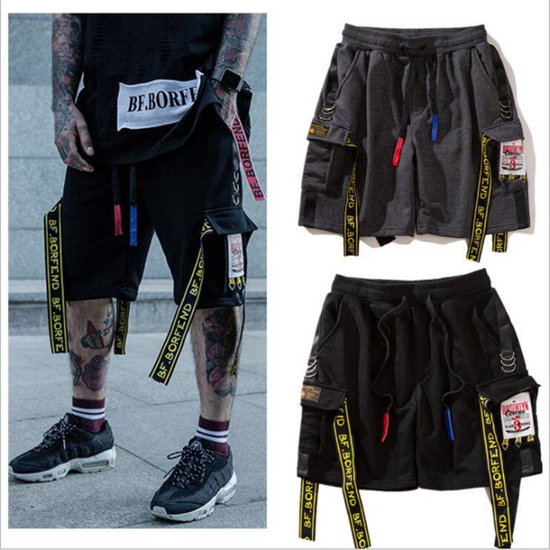 Men Short Joggers Summer Ribbons Beach Cargo Shorts Hip Hop Sweatpants Cotton Harem Shorts Fashion Streetwear M L XL XXL