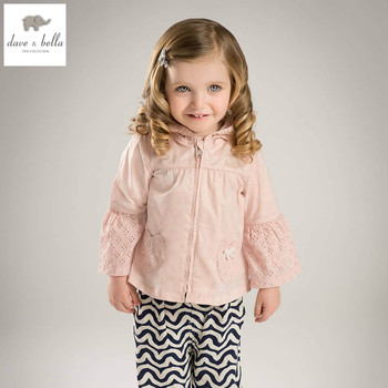 DB5075 dave bella spring autumn baby girl infant coat pink cute hooded toddle outerwear children high quality jacket image