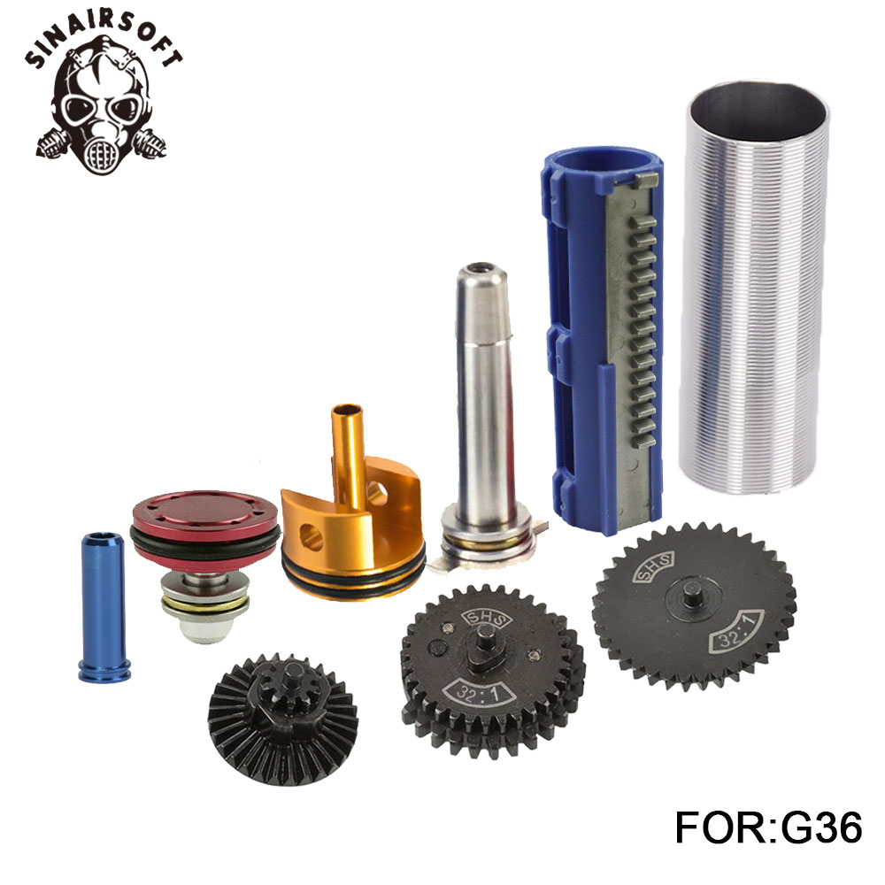 SHS-32-1-Gear-Nozzle-Cylinder-Spring-Guide-14-Teeth-Piston-Kit-Fit-Airsoft-AK-MP5 (2)