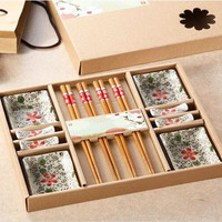 Japanese Tableware Set 4 People Dinnerware Set Hand Painted Kitchen Dining Bar Traditional Ceramic Crafts Sushi Tools
