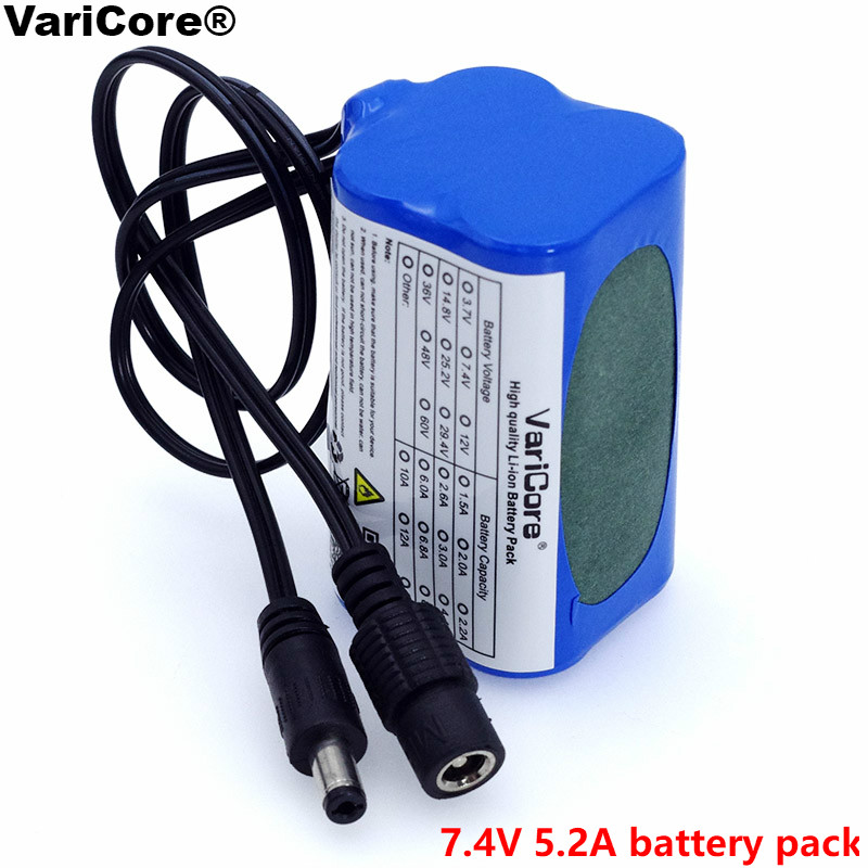 VariCore Proteggere 7.4 v 5200 mah 8.4 v 18650 li-lon Batteria luci della bicicletta del faro anteriore speciale batteria DC 5.5*2.1mm